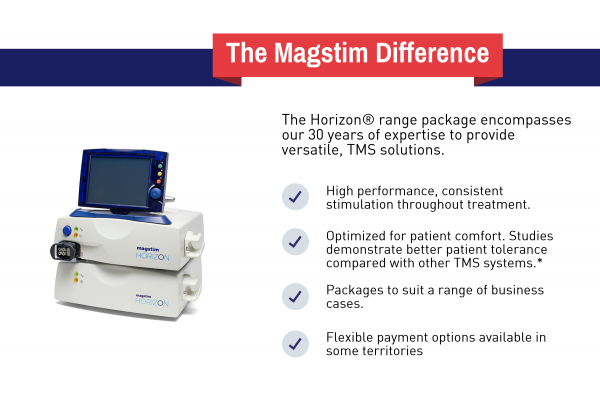 The Horizon TMS therapy range: high performance, consistent stimulation, optimized for comfort, flexible payment options
